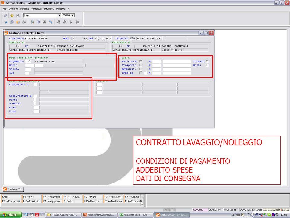 13 febbrario 2007 CONTRATTO LAVAGGIO/NOLEGGIO CONDIZIONI DI PAGAMENTO ADDEBITO SPESE DATI DI CONSEGNA