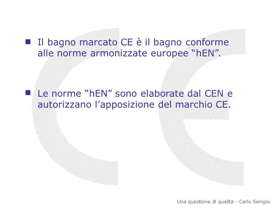 Il bagno marcato CE è il bagno conforme alle norme armonizzate europee hEN.