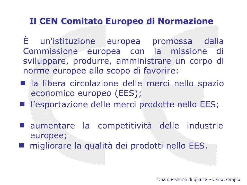 È unistituzione europea promossa dalla Commissione europea con la missione di sviluppare, produrre, amministrare un corpo di norme europee allo scopo di favorire: la libera circolazione delle merci nello spazio economico europeo (EES); lesportazione delle merci prodotte nello EES; aumentare la competitività delle industrie europee; migliorare la qualità dei prodotti nello EES.
