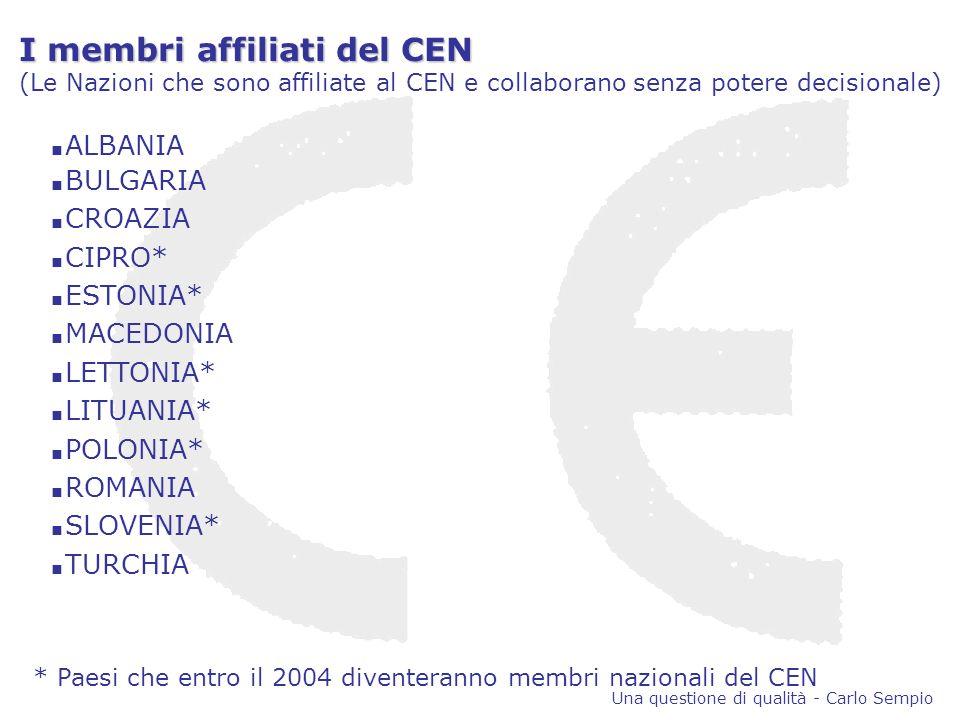 I membri affiliati del CEN (Le Nazioni che sono affiliate al CEN e collaborano senza potere decisionale) ALBANIA BULGARIA CROAZIA CIPRO* ESTONIA* MACEDONIA LETTONIA* LITUANIA* POLONIA* ROMANIA SLOVENIA* TURCHIA * Paesi che entro il 2004 diventeranno membri nazionali del CEN Una questione di qualità - Carlo Sempio