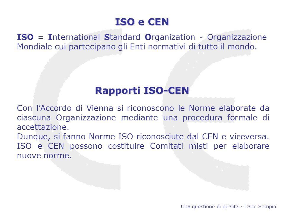 ISO e CEN ISO = International Standard Organization - Organizzazione Mondiale cui partecipano gli Enti normativi di tutto il mondo.