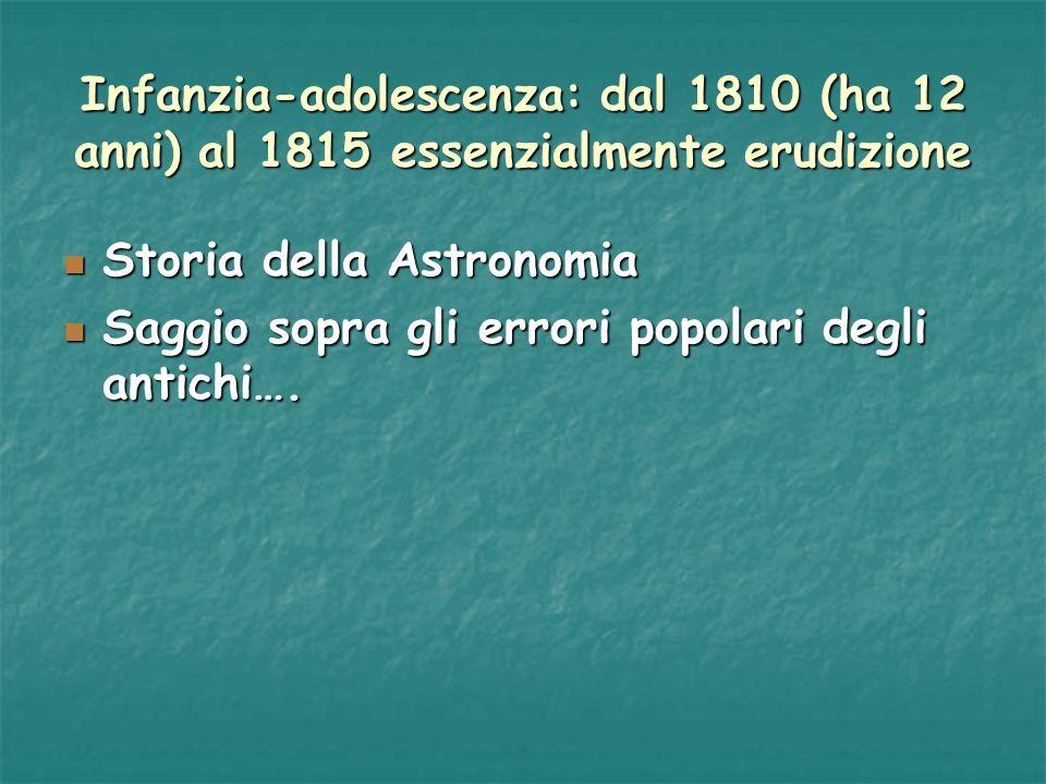 Infanzia-adolescenza: dal 1810 (ha 12 anni) al 1815 essenzialmente erudizione Storia della Astronomia Storia della Astronomia Saggio sopra gli errori