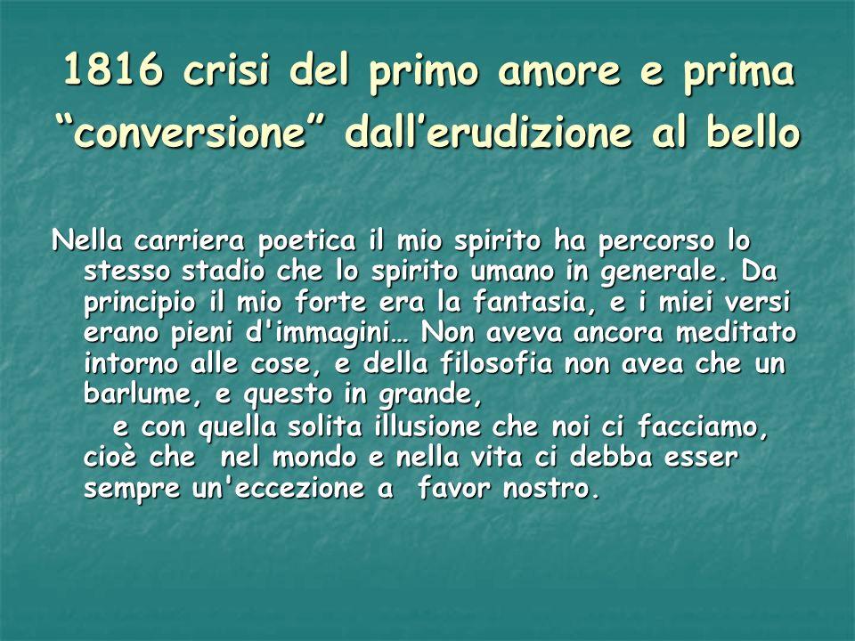 1816 crisi del primo amore e prima conversione dallerudizione al bello Nella carriera poetica il mio spirito ha percorso lo stesso stadio che lo spiri