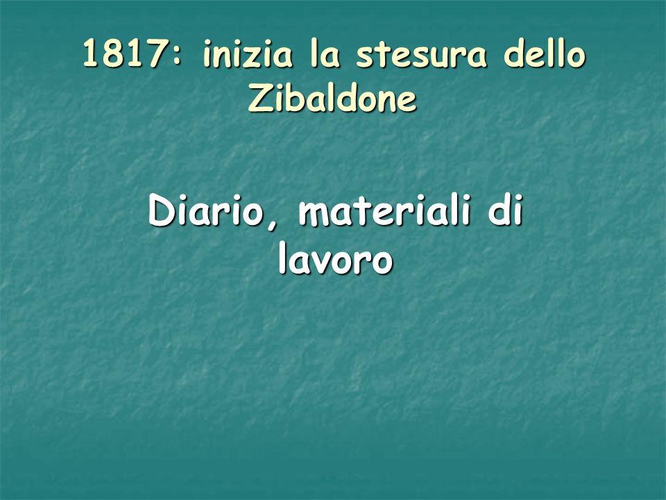 1817: inizia la stesura dello Zibaldone Diario, materiali di lavoro