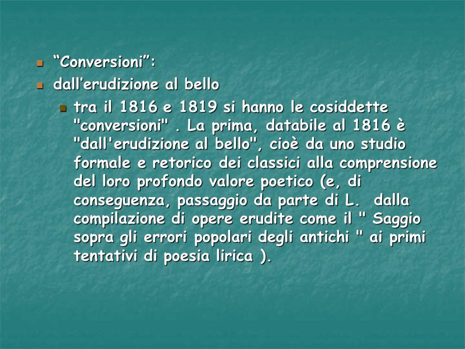 Conversioni: Conversioni: dallerudizione al bello dallerudizione al bello tra il 1816 e 1819 si hanno le cosiddette