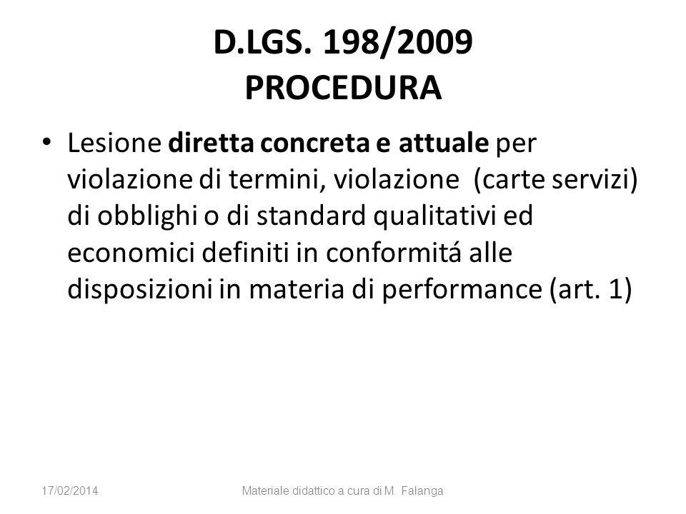 D.LGS. 198/2009 PROCEDURA Lesione diretta concreta e attuale per violazione di termini, violazione (carte servizi) di obblighi o di standard qualitati