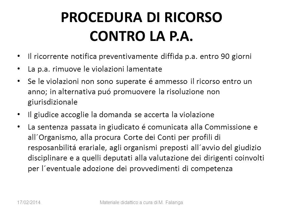 PROCEDURA DI RICORSO CONTRO LA P.A. Il ricorrente notifica preventivamente diffida p.a. entro 90 giorni La p.a. rimuove le violazioni lamentate Se le