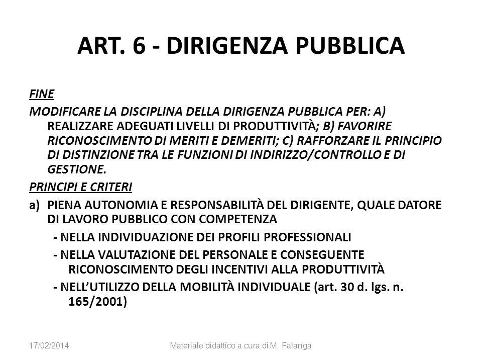 ART. 6 - DIRIGENZA PUBBLICA FINE MODIFICARE LA DISCIPLINA DELLA DIRIGENZA PUBBLICA PER: A) REALIZZARE ADEGUATI LIVELLI DI PRODUTTIVITÀ; B) FAVORIRE RI