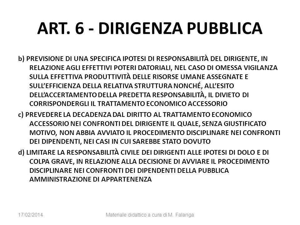 ART. 6 - DIRIGENZA PUBBLICA b) PREVISIONE DI UNA SPECIFICA IPOTESI DI RESPONSABILITÀ DEL DIRIGENTE, IN RELAZIONE AGLI EFFETTIVI POTERI DATORIALI, NEL