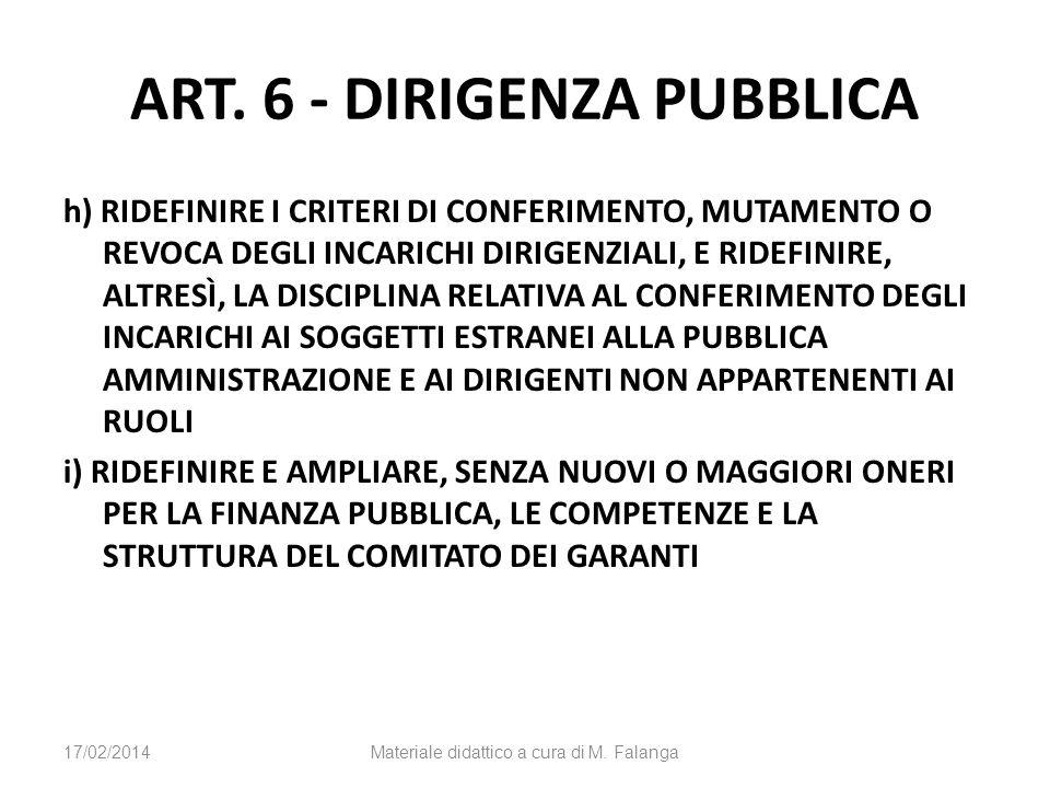 ART. 6 - DIRIGENZA PUBBLICA h) RIDEFINIRE I CRITERI DI CONFERIMENTO, MUTAMENTO O REVOCA DEGLI INCARICHI DIRIGENZIALI, E RIDEFINIRE, ALTRESÌ, LA DISCIP