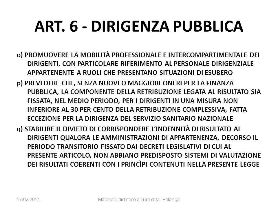 ART. 6 - DIRIGENZA PUBBLICA o) PROMUOVERE LA MOBILITÀ PROFESSIONALE E INTERCOMPARTIMENTALE DEI DIRIGENTI, CON PARTICOLARE RIFERIMENTO AL PERSONALE DIR