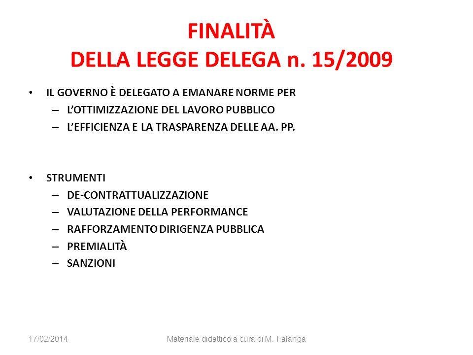 FINALITÀ DELLA LEGGE DELEGA n.