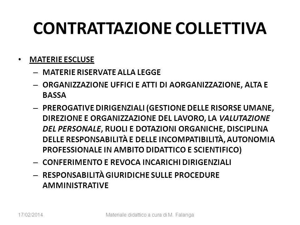 CONTRATTAZIONE COLLETTIVA MATERIE ESCLUSE – MATERIE RISERVATE ALLA LEGGE – ORGANIZZAZIONE UFFICI E ATTI DI AORGANIZZAZIONE, ALTA E BASSA – PREROGATIVE DIRIGENZIALI (GESTIONE DELLE RISORSE UMANE, DIREZIONE E ORGANIZZAZIONE DEL LAVORO, LA VALUTAZIONE DEL PERSONALE, RUOLI E DOTAZIONI ORGANICHE, DISCIPLINA DELLE RESPONSABILITÀ E DELLE INCOMPATIBILITÀ, AUTONOMIA PROFESSIONALE IN AMBITO DIDATTICO E SCIENTIFICO) – CONFERIMENTO E REVOCA INCARICHI DIRIGENZIALI – RESPONSABILITÀ GIURIDICHE SULLE PROCEDURE AMMINISTRATIVE 17/02/2014Materiale didattico a cura di M.