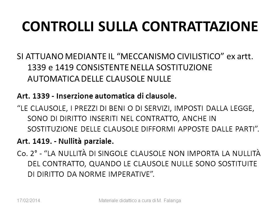 CONTROLLI SULLA CONTRATTAZIONE SI ATTUANO MEDIANTE IL MECCANISMO CIVILISTICO ex artt. 1339 e 1419 CONSISTENTE NELLA SOSTITUZIONE AUTOMATICA DELLE CLAU