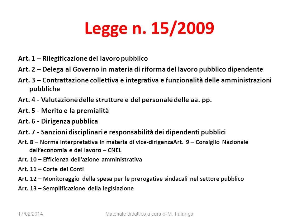 Legge n. 15/2009 Art. 1 – Rilegificazione del lavoro pubblico Art. 2 – Delega al Governo in materia di riforma del lavoro pubblico dipendente Art. 3 –