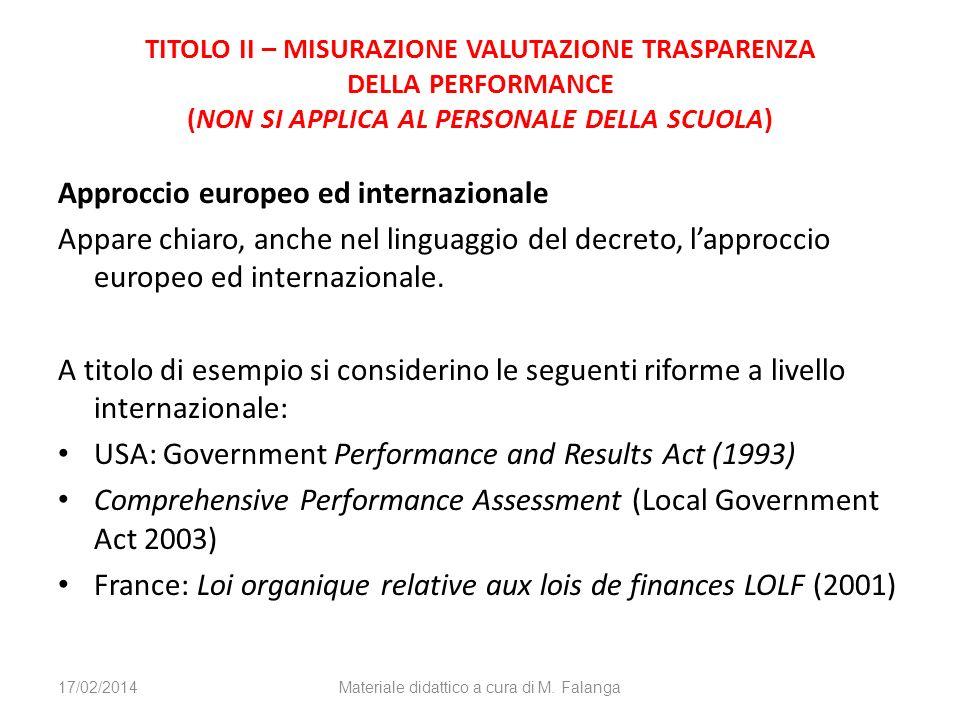 TITOLO II – MISURAZIONE VALUTAZIONE TRASPARENZA DELLA PERFORMANCE (NON SI APPLICA AL PERSONALE DELLA SCUOLA) Approccio europeo ed internazionale Appar