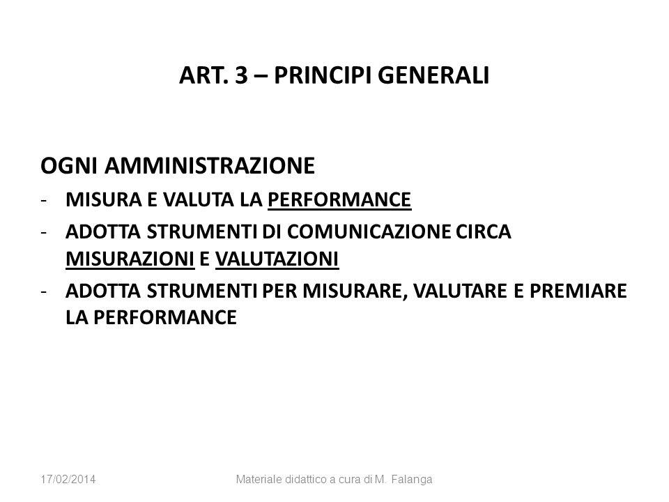 ART. 3 – PRINCIPI GENERALI OGNI AMMINISTRAZIONE -MISURA E VALUTA LA PERFORMANCE -ADOTTA STRUMENTI DI COMUNICAZIONE CIRCA MISURAZIONI E VALUTAZIONI -AD