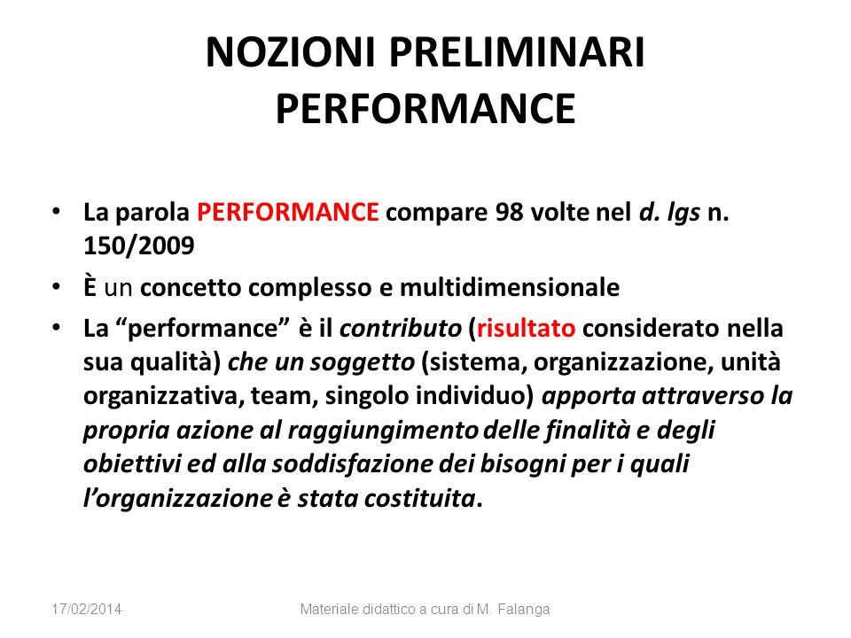 NOZIONI PRELIMINARI PERFORMANCE La parola PERFORMANCE compare 98 volte nel d. lgs n. 150/2009 È un concetto complesso e multidimensionale La performan