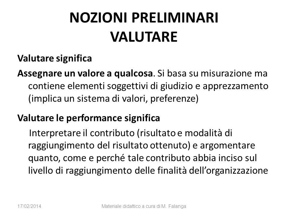 NOZIONI PRELIMINARI VALUTARE Valutare significa Assegnare un valore a qualcosa. Si basa su misurazione ma contiene elementi soggettivi di giudizio e a