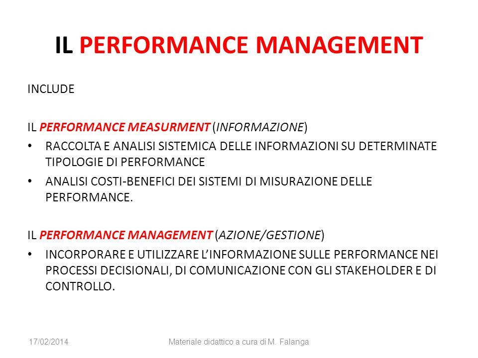 IL PERFORMANCE MANAGEMENT INCLUDE IL PERFORMANCE MEASURMENT (INFORMAZIONE) RACCOLTA E ANALISI SISTEMICA DELLE INFORMAZIONI SU DETERMINATE TIPOLOGIE DI PERFORMANCE ANALISI COSTI-BENEFICI DEI SISTEMI DI MISURAZIONE DELLE PERFORMANCE.