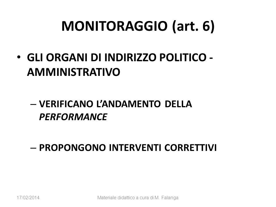 MONITORAGGIO (art. 6) GLI ORGANI DI INDIRIZZO POLITICO - AMMINISTRATIVO – VERIFICANO LANDAMENTO DELLA PERFORMANCE – PROPONGONO INTERVENTI CORRETTIVI 1