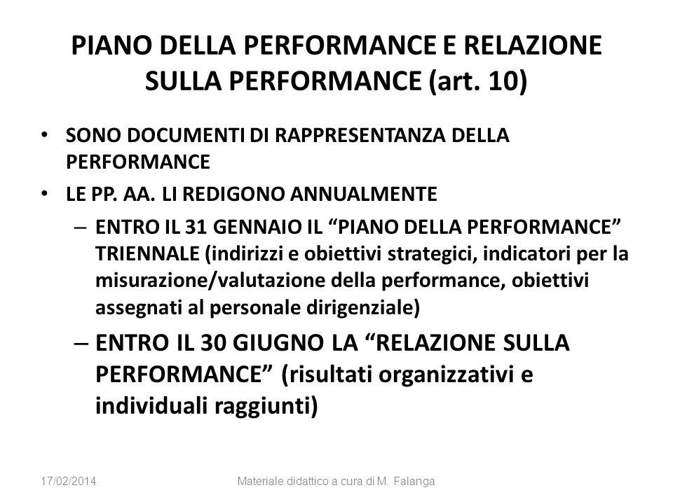 PIANO DELLA PERFORMANCE E RELAZIONE SULLA PERFORMANCE (art. 10) SONO DOCUMENTI DI RAPPRESENTANZA DELLA PERFORMANCE LE PP. AA. LI REDIGONO ANNUALMENTE