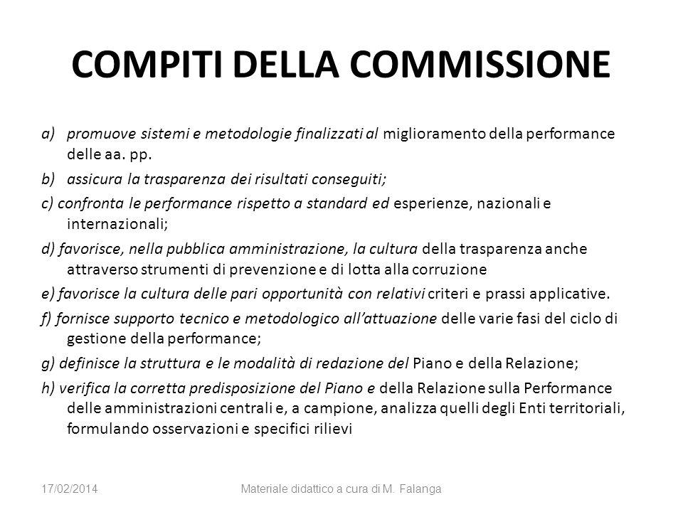 COMPITI DELLA COMMISSIONE a)promuove sistemi e metodologie finalizzati al miglioramento della performance delle aa. pp. b)assicura la trasparenza dei