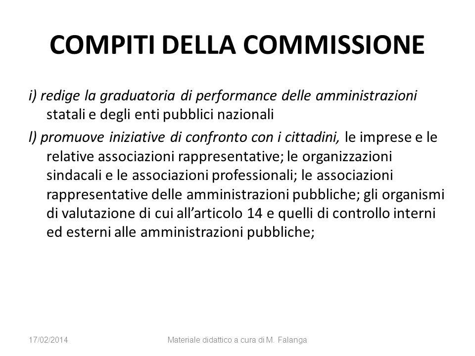 COMPITI DELLA COMMISSIONE i) redige la graduatoria di performance delle amministrazioni statali e degli enti pubblici nazionali l) promuove iniziative