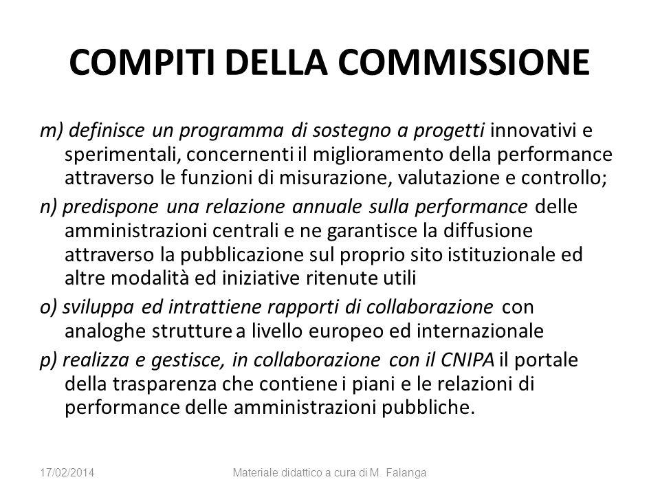 COMPITI DELLA COMMISSIONE m) definisce un programma di sostegno a progetti innovativi e sperimentali, concernenti il miglioramento della performance a