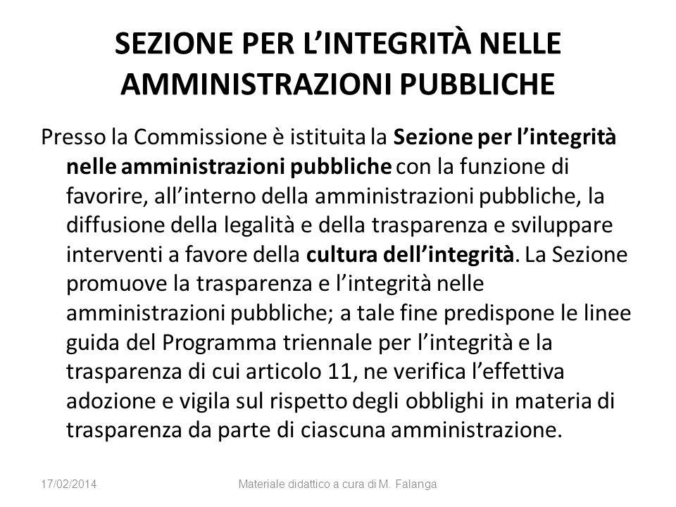 SEZIONE PER LINTEGRITÀ NELLE AMMINISTRAZIONI PUBBLICHE Presso la Commissione è istituita la Sezione per lintegrità nelle amministrazioni pubbliche con
