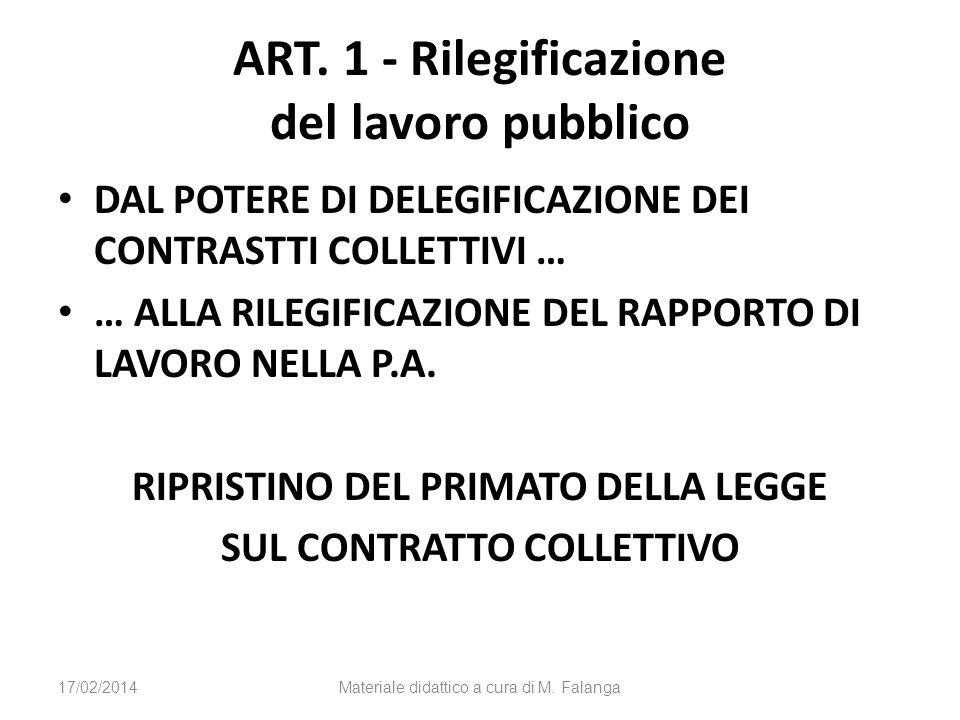ART. 1 - Rilegificazione del lavoro pubblico DAL POTERE DI DELEGIFICAZIONE DEI CONTRASTTI COLLETTIVI … … ALLA RILEGIFICAZIONE DEL RAPPORTO DI LAVORO N