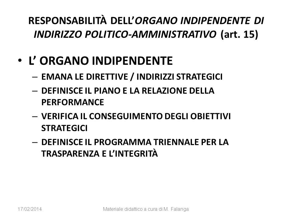 RESPONSABILITÀ DELLORGANO INDIPENDENTE DI INDIRIZZO POLITICO-AMMINISTRATIVO (art. 15) L ORGANO INDIPENDENTE – EMANA LE DIRETTIVE / INDIRIZZI STRATEGIC