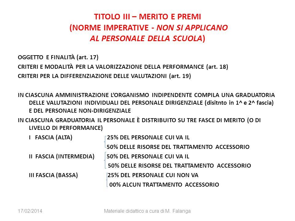 TITOLO III – MERITO E PREMI (NORME IMPERATIVE - NON SI APPLICANO AL PERSONALE DELLA SCUOLA) OGGETTO E FINALITÀ (art. 17) CRITERI E MODALITÀ PER LA VAL