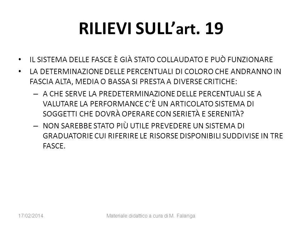 STRUMENTI PREMIALI DEL MERITO E DELLA PROFESSIONALITÀ (art.