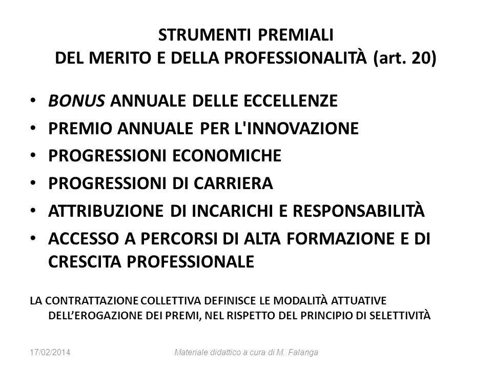STRUMENTI PREMIALI DEL MERITO E DELLA PROFESSIONALITÀ (art. 20) BONUS ANNUALE DELLE ECCELLENZE PREMIO ANNUALE PER L'INNOVAZIONE PROGRESSIONI ECONOMICH
