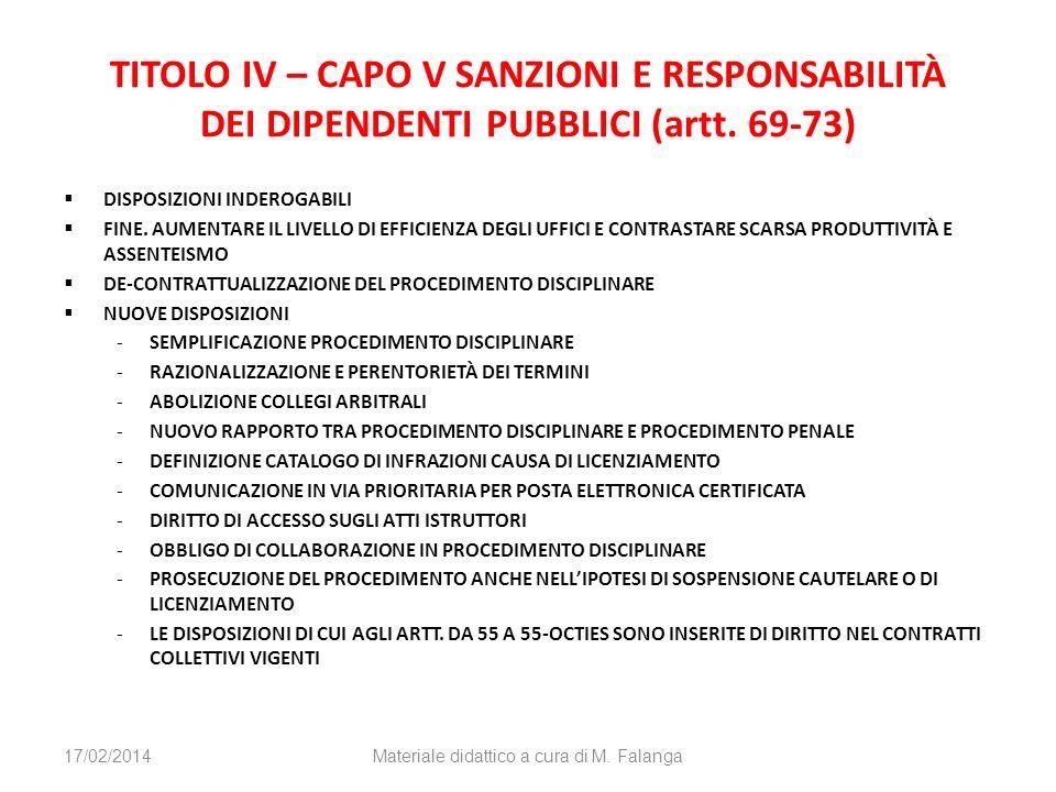 TITOLO IV – CAPO V SANZIONI E RESPONSABILITÀ DEI DIPENDENTI PUBBLICI (artt. 69-73) DISPOSIZIONI INDEROGABILI FINE. AUMENTARE IL LIVELLO DI EFFICIENZA