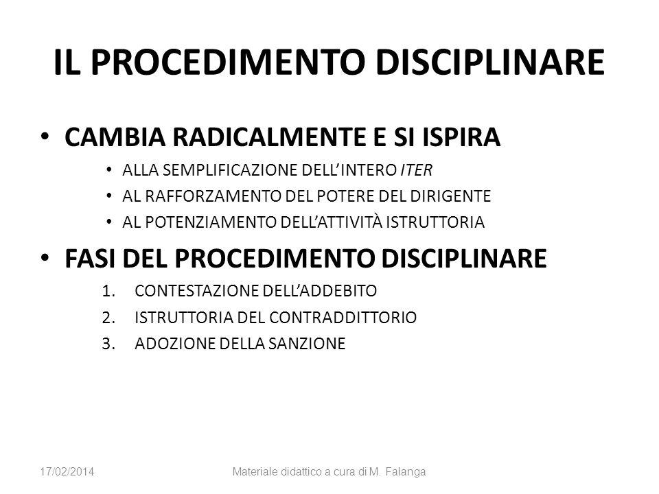 IL PROCEDIMENTO DISCIPLINARE CAMBIA RADICALMENTE E SI ISPIRA ALLA SEMPLIFICAZIONE DELLINTERO ITER AL RAFFORZAMENTO DEL POTERE DEL DIRIGENTE AL POTENZIAMENTO DELLATTIVITÀ ISTRUTTORIA FASI DEL PROCEDIMENTO DISCIPLINARE 1.CONTESTAZIONE DELLADDEBITO 2.ISTRUTTORIA DEL CONTRADDITTORIO 3.ADOZIONE DELLA SANZIONE 17/02/2014Materiale didattico a cura di M.