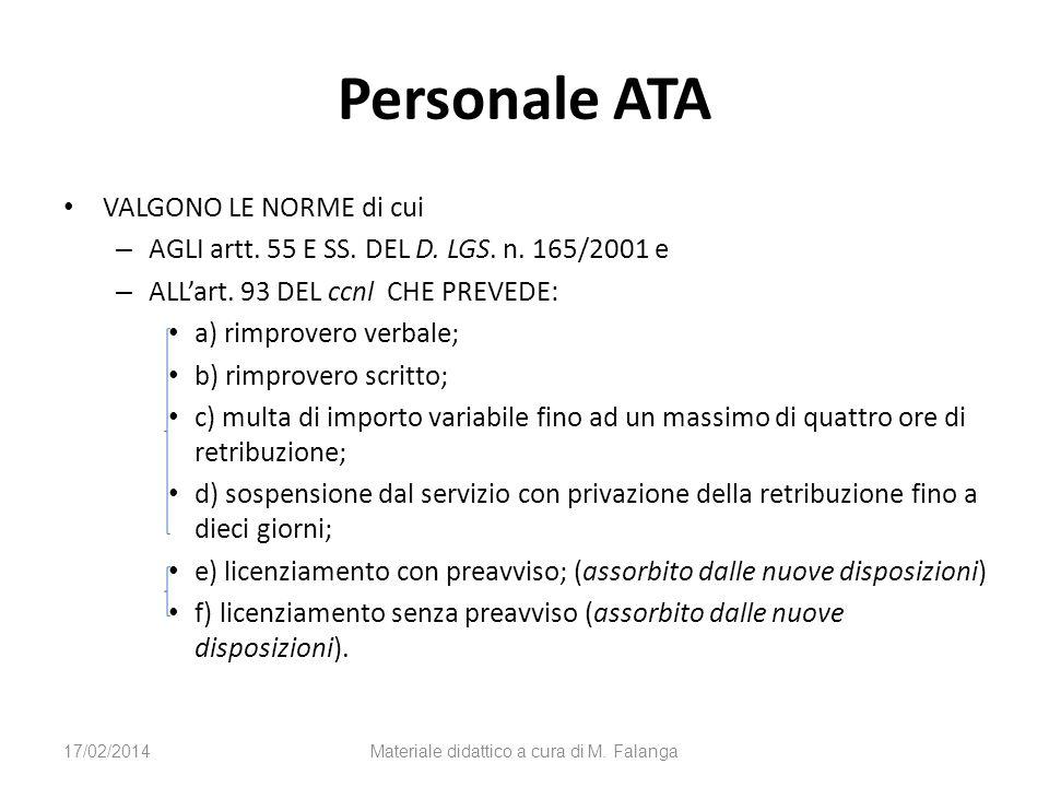 Personale ATA VALGONO LE NORME di cui – AGLI artt. 55 E SS. DEL D. LGS. n. 165/2001 e – ALLart. 93 DEL ccnl CHE PREVEDE: a) rimprovero verbale; b) rim
