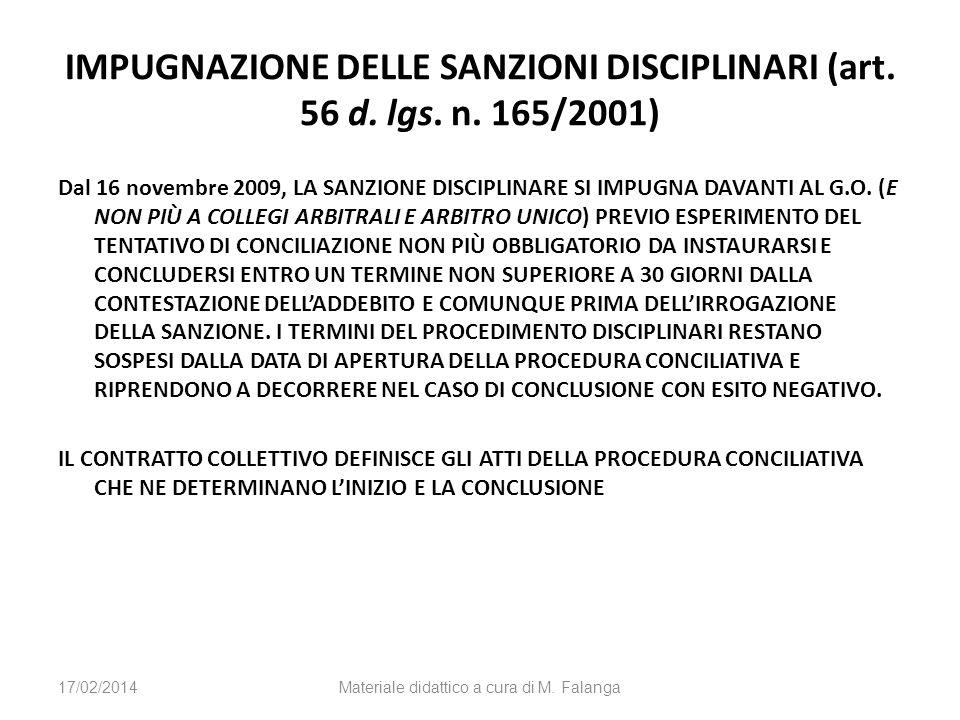 IMPUGNAZIONE DELLE SANZIONI DISCIPLINARI (art. 56 d. lgs. n. 165/2001) Dal 16 novembre 2009, LA SANZIONE DISCIPLINARE SI IMPUGNA DAVANTI AL G.O. (E NO