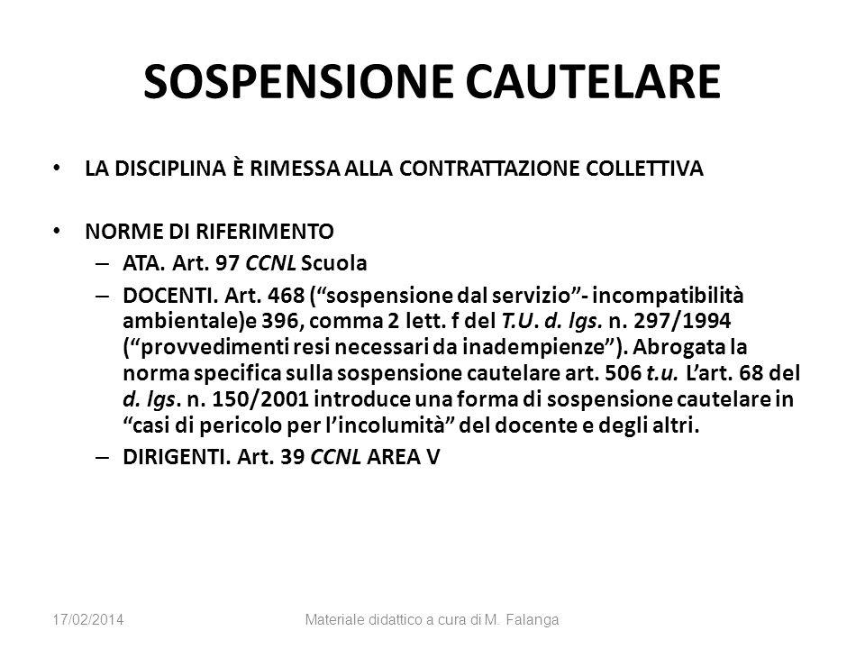 SOSPENSIONE CAUTELARE LA DISCIPLINA È RIMESSA ALLA CONTRATTAZIONE COLLETTIVA NORME DI RIFERIMENTO – ATA. Art. 97 CCNL Scuola – DOCENTI. Art. 468 (sosp
