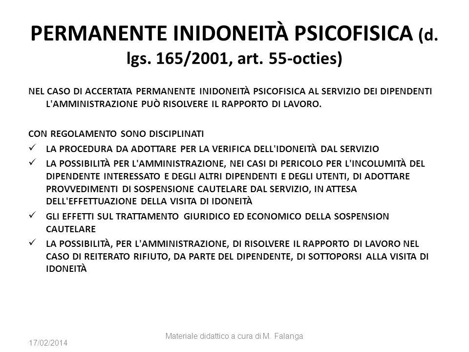 PERMANENTE INIDONEITÀ PSICOFISICA (d. lgs. 165/2001, art. 55-octies) NEL CASO DI ACCERTATA PERMANENTE INIDONEITÀ PSICOFISICA AL SERVIZIO DEI DIPENDENT