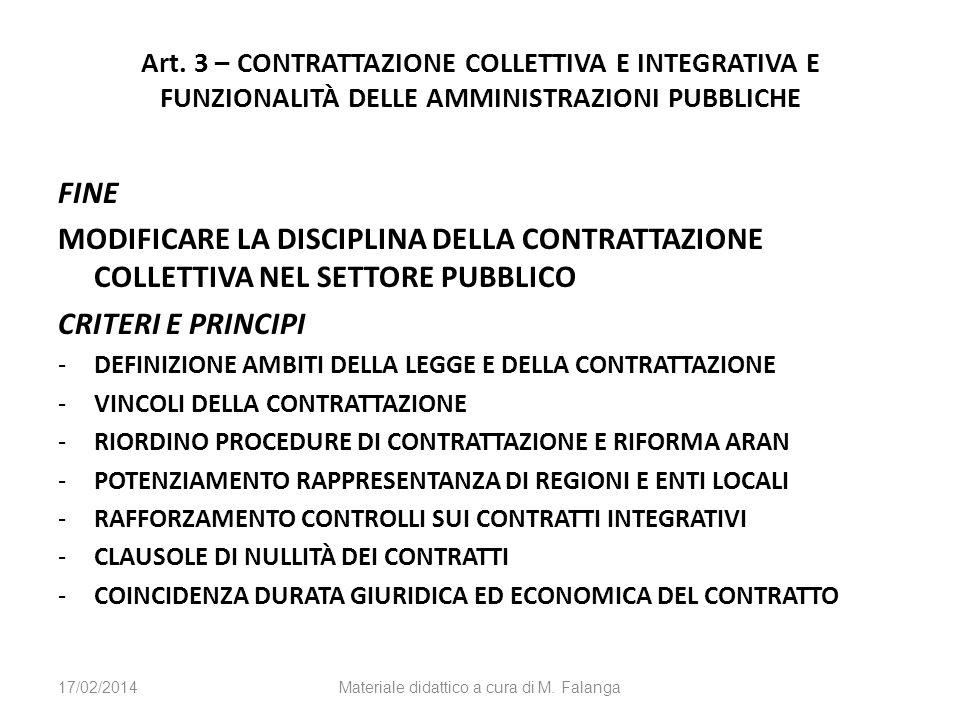 Art. 3 – CONTRATTAZIONE COLLETTIVA E INTEGRATIVA E FUNZIONALITÀ DELLE AMMINISTRAZIONI PUBBLICHE FINE MODIFICARE LA DISCIPLINA DELLA CONTRATTAZIONE COL