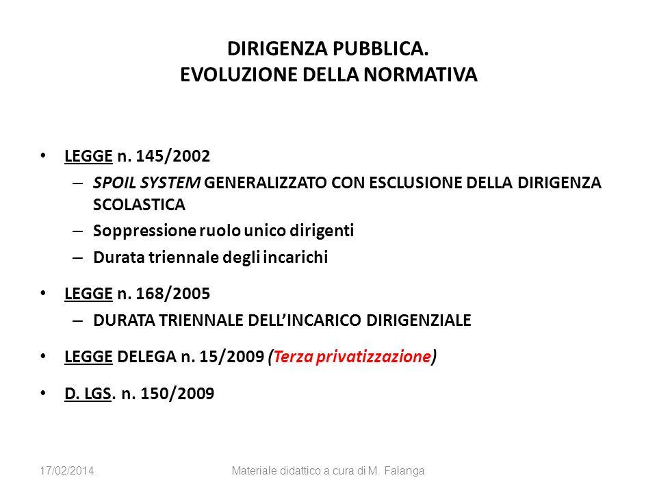 DIRIGENZA PUBBLICA. EVOLUZIONE DELLA NORMATIVA LEGGE n. 145/2002 – SPOIL SYSTEM GENERALIZZATO CON ESCLUSIONE DELLA DIRIGENZA SCOLASTICA – Soppressione