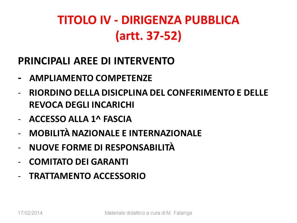 TITOLO IV - DIRIGENZA PUBBLICA (artt. 37-52) PRINCIPALI AREE DI INTERVENTO - AMPLIAMENTO COMPETENZE -RIORDINO DELLA DISICPLINA DEL CONFERIMENTO E DELL