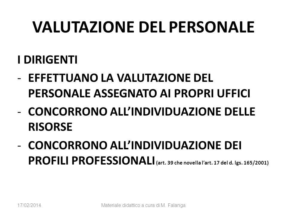 VALUTAZIONE DEL PERSONALE I DIRIGENTI -EFFETTUANO LA VALUTAZIONE DEL PERSONALE ASSEGNATO AI PROPRI UFFICI -CONCORRONO ALLINDIVIDUAZIONE DELLE RISORSE -CONCORRONO ALLINDIVIDUAZIONE DEI PROFILI PROFESSIONALI (art.
