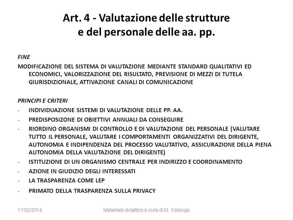 Art. 4 - Valutazione delle strutture e del personale delle aa. pp. FINE MODIFICAZIONE DEL SISTEMA DI VALUTAZIONE MEDIANTE STANDARD QUALITATIVI ED ECON