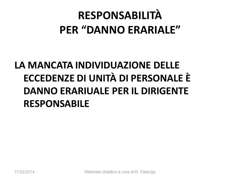 RESPONSABILITÀ PER DANNO ERARIALE LA MANCATA INDIVIDUAZIONE DELLE ECCEDENZE DI UNITÀ DI PERSONALE È DANNO ERARIUALE PER IL DIRIGENTE RESPONSABILE 17/02/2014Materiale didattico a cura di M.