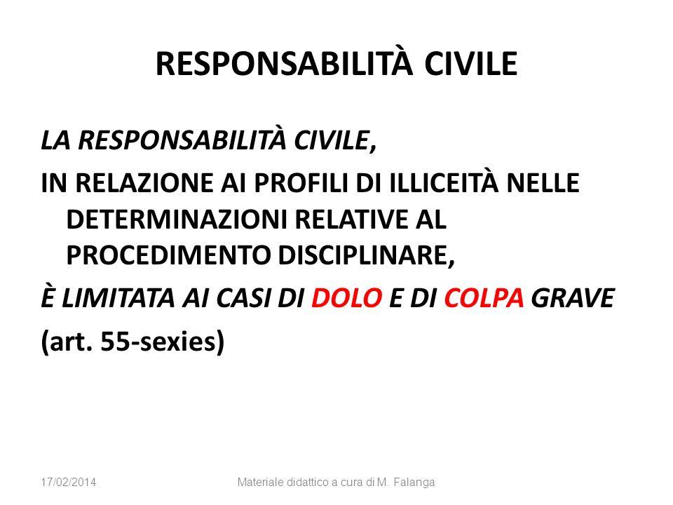 RESPONSABILITÀ CIVILE LA RESPONSABILITÀ CIVILE, IN RELAZIONE AI PROFILI DI ILLICEITÀ NELLE DETERMINAZIONI RELATIVE AL PROCEDIMENTO DISCIPLINARE, È LIMITATA AI CASI DI DOLO E DI COLPA GRAVE (art.