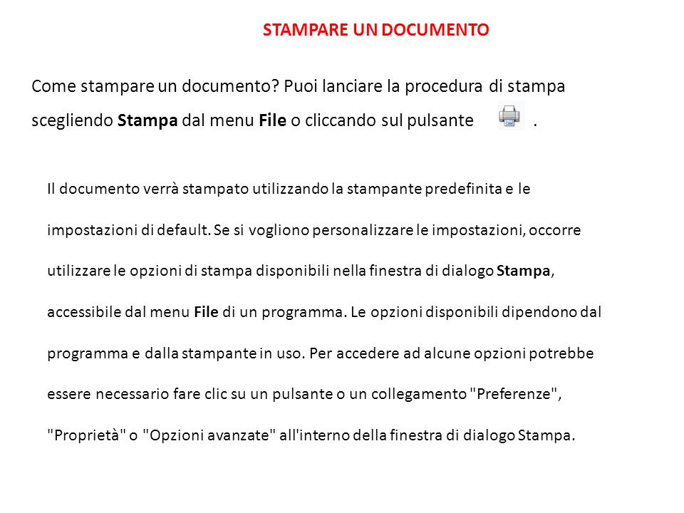 STAMPARE UN DOCUMENTO Come stampare un documento.