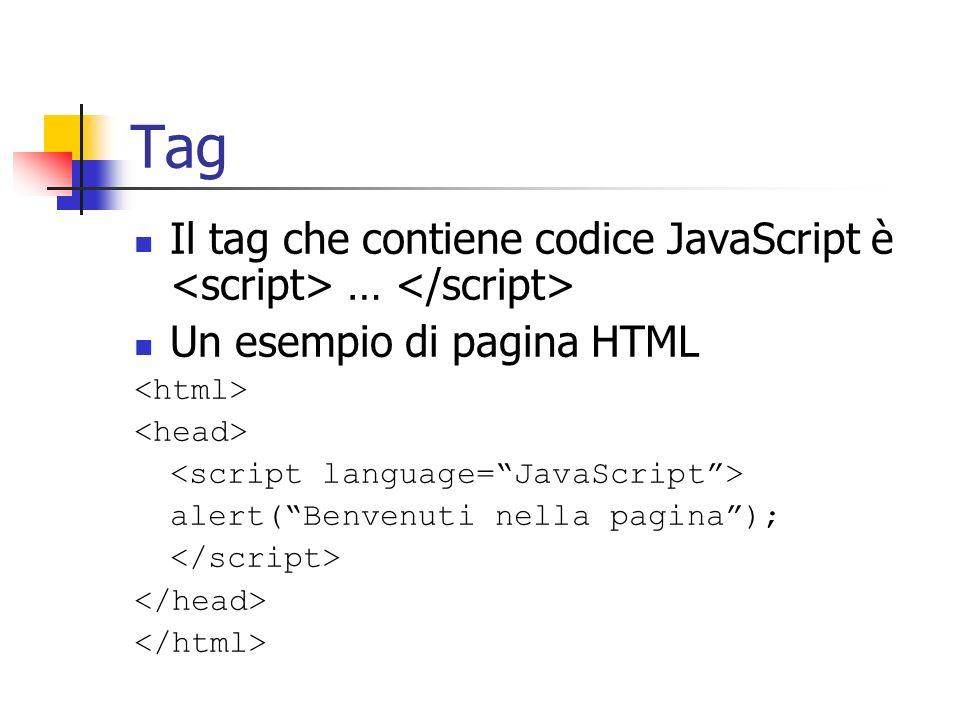 Tag Il tag che contiene codice JavaScript è … Un esempio di pagina HTML alert(Benvenuti nella pagina);